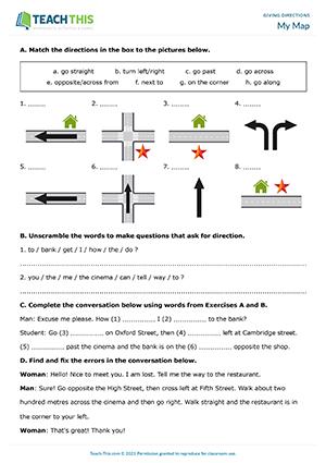 Directions ESL Activities Games Worksheets on find directions, dress directions, wind directions,