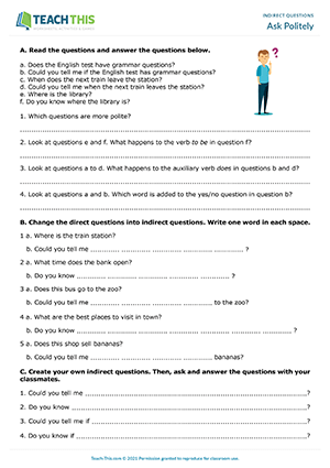 indirect questions esl worksheets role plays activities games. Black Bedroom Furniture Sets. Home Design Ideas