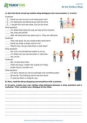 Shopping Role Plays Worksheets Esl Activities
