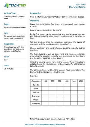 ESL Quiz Games