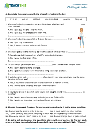 Clothes Fashion Worksheets Esl Activities Games