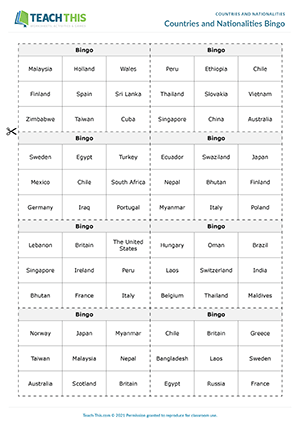 Countries and Nationalities Bingo Preview