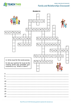 Family and Relationships Crossword Preview