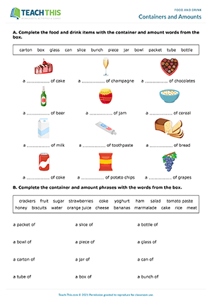 Food Drink Esl Worksheets Activities Games
