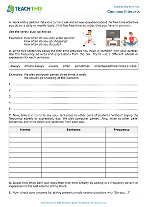 Hobbies Free Time Esl Activities Games Worksheets