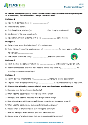 Money Vocabulary Worksheet Preview