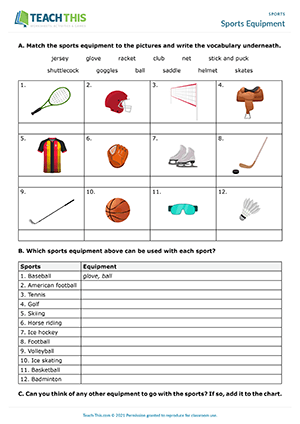 Sports Equipment Worksheet Preview