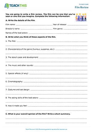 Film Review Worksheet Preview