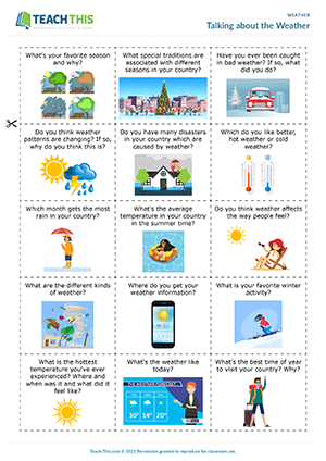 Weather ESL Worksheets Activities Games