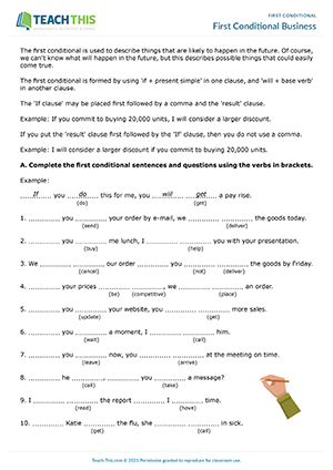 First Conditional Worksheets Esl Activities Games