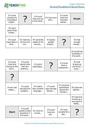 Second Conditional Activities ESL Games Worksheets