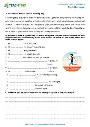 Mark the Jogger Worksheet Preview