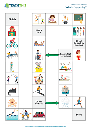 Present Continuous Games Worksheets Esl Activities