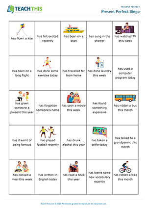 Present Perfect Bingo Preview