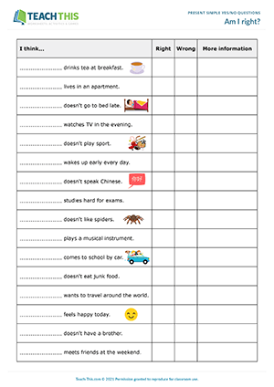Present Simple Yes No Questions ESL Activities Games Worksheets