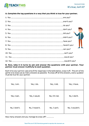 Question Tags Games Esl Activities Worksheets