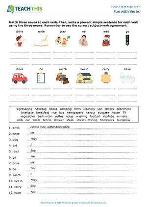 Subject Verb Agreement Games Esl Activities Worksheets