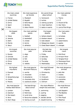 superlative adjectives esl games activities worksheets