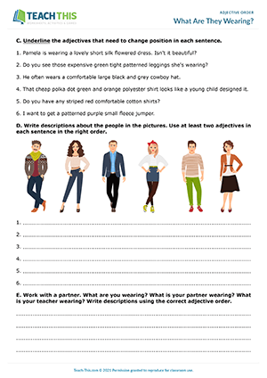 What Are They Wearing? Worksheet Preview