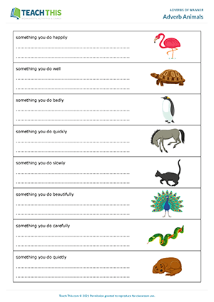 Adverb Animals Worksheet Preview