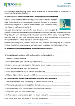 Extreme Sports Worksheet Preview