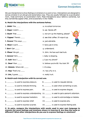 Common Interjections Worksheet Preview
