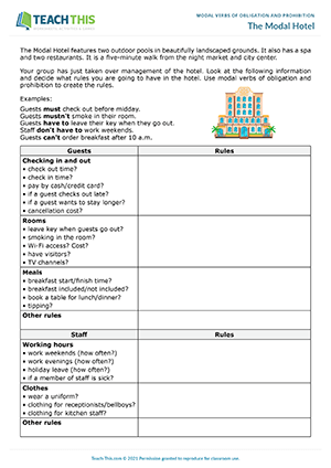 Modal Verbs Obligation Prohibition Esl Activities Worksheets Games