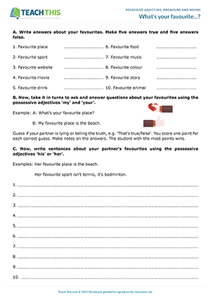 Possessives ESL Games Activities Worksheets