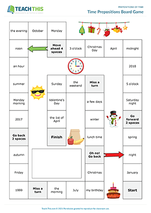 Time Prepositions Board Game Preview