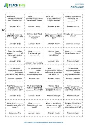 Quantifiers Esl Worksheets Activities Games