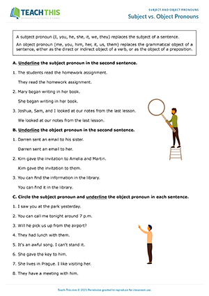 Subject Object Pronouns Esl Activities Games Worksheets